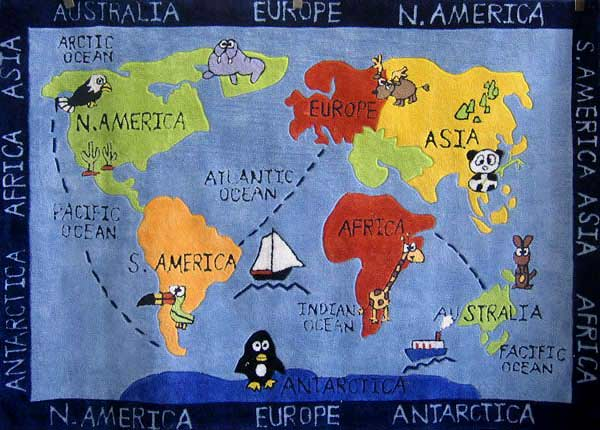World Map Rf Kids Rugs