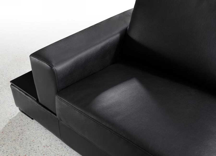 Vg Rz Modern Black Sectional Sofa Leather Sectionals