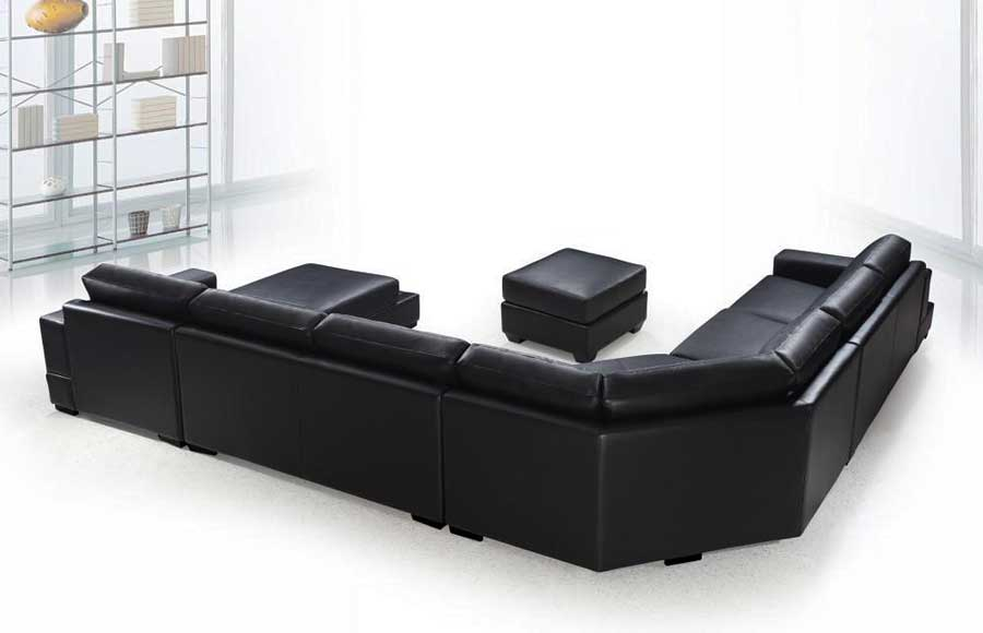 VG-RZ Modern Black Sectional Sofa | Leather Sectionals