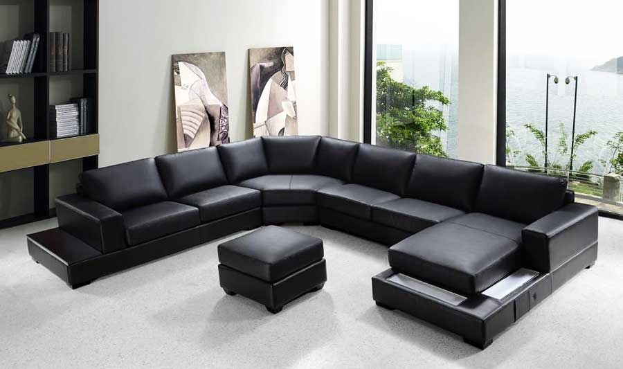 VG-RZ Modern Black Sectional Sofa : sectional sofa black - Sectionals, Sofas & Couches