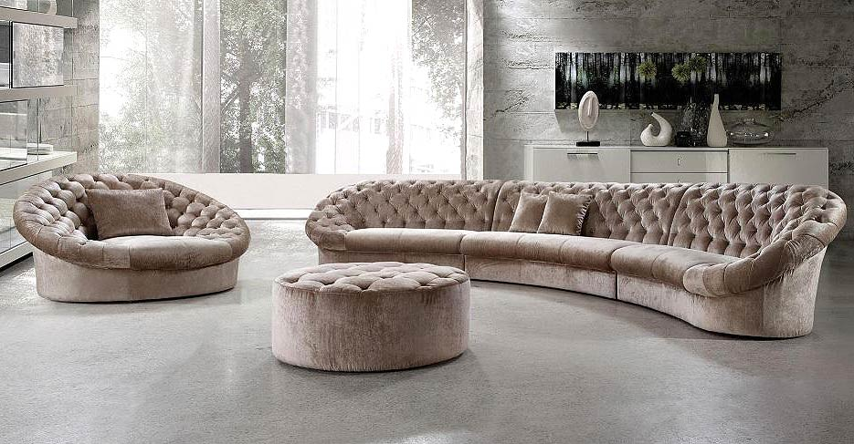 Leon Fabric Sectional Sofa Chair And Round Ottoman