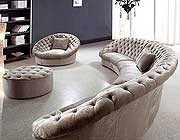 Leon Fabric Sectional Sofa, Chair and Round Ottoman