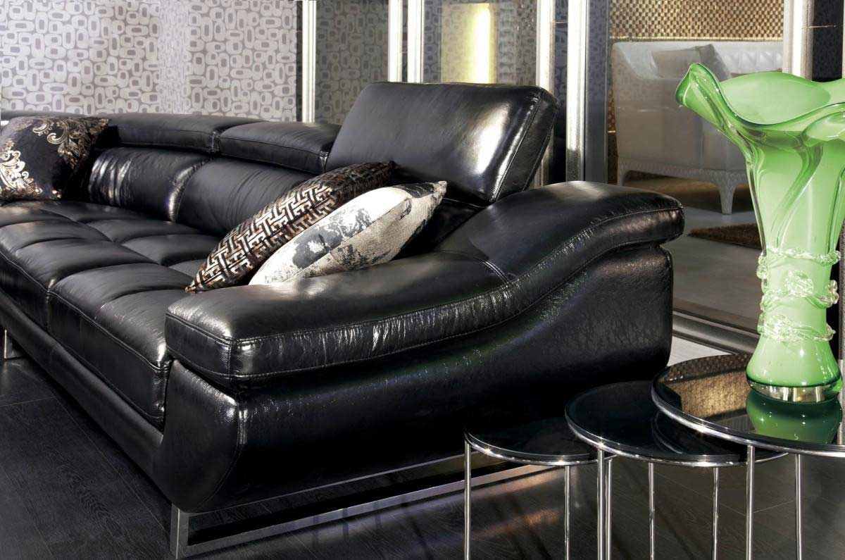 VG 77 Black Leather Sectional Sofa ...