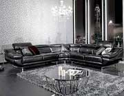 VG-77 Black Leather Sectional sofa