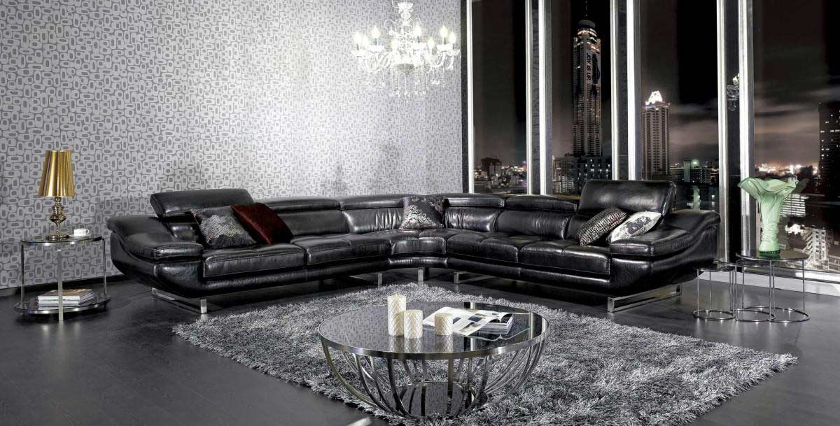 vg77 black leather sectional sofa
