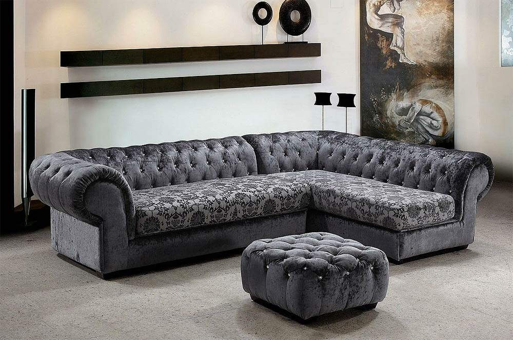 grey dream mini micro fiber sectional sofa with ottoman. Black Bedroom Furniture Sets. Home Design Ideas