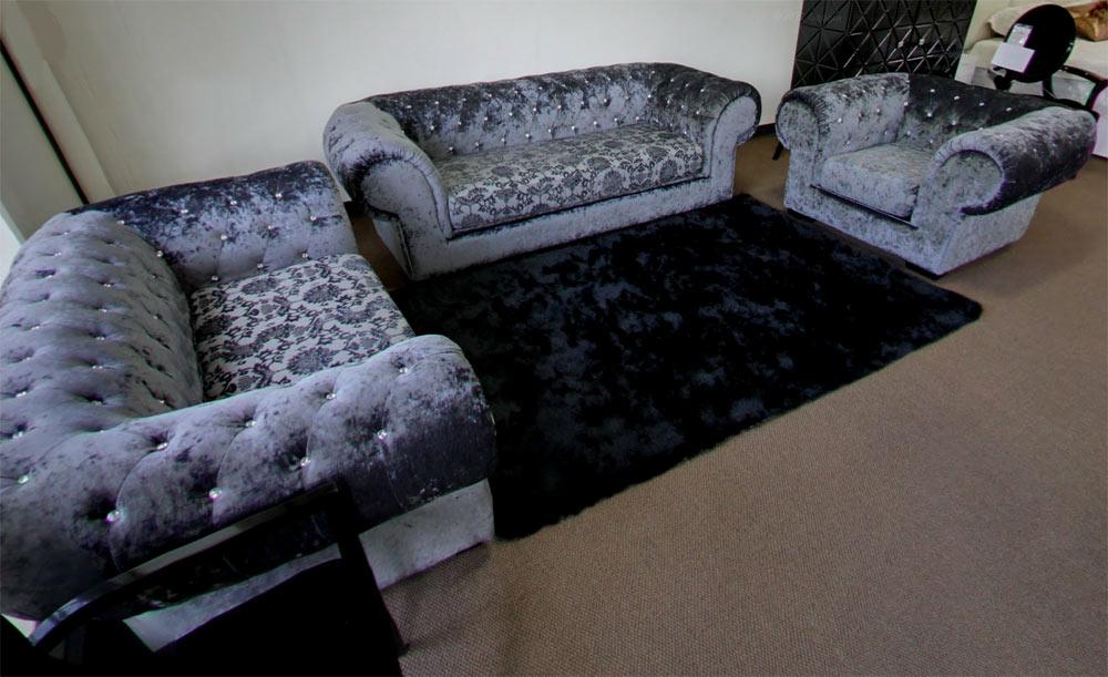 Grey Dream Mini Micro Fiber Sectional Sofa With Ottoman