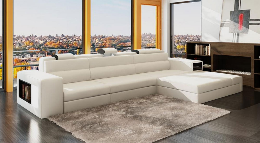 White Leather Sectional Polaris Mini Sectionals