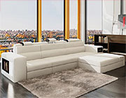 White Leather Sectional Polaris Mini