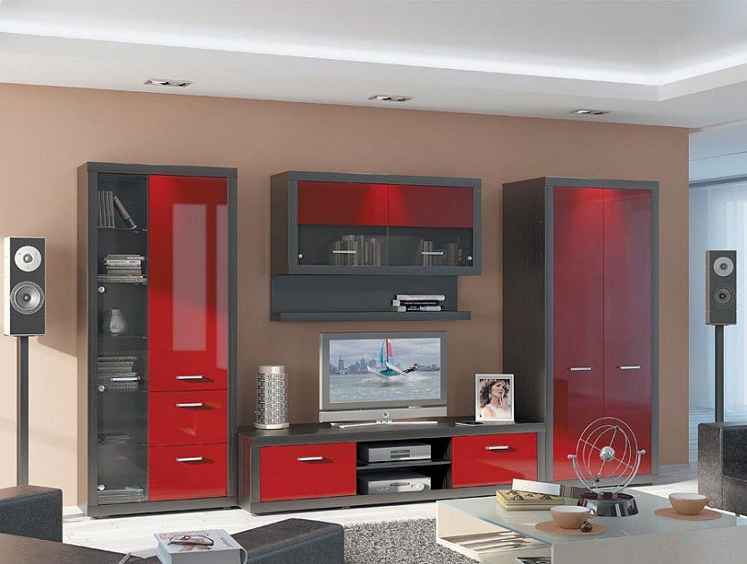 Contemporary Modular Wall Unit Monaco Red Wall Units