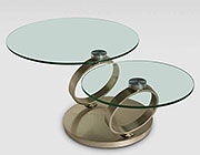 Modern glass coffe table with swivel tops