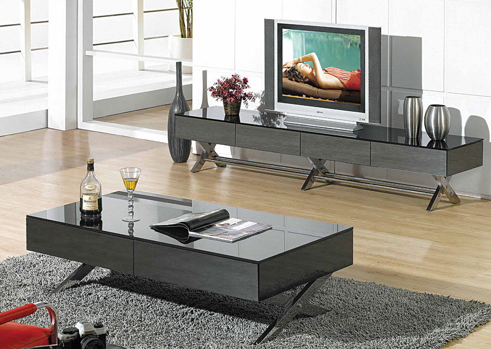 Home >> Coffee Tables >> Contemporary >> Modern glossy gray coffee