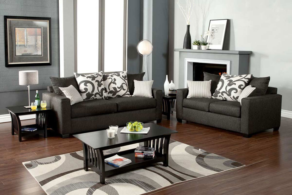 Grey Living Room Furniture Set : Medium Gray Sofa Set FA3010  Fabric Sofas