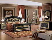 Aida Italian Bed Black with Gold