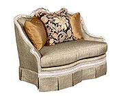 BT 069 Italian Gray Large Accent Chair in White Finish