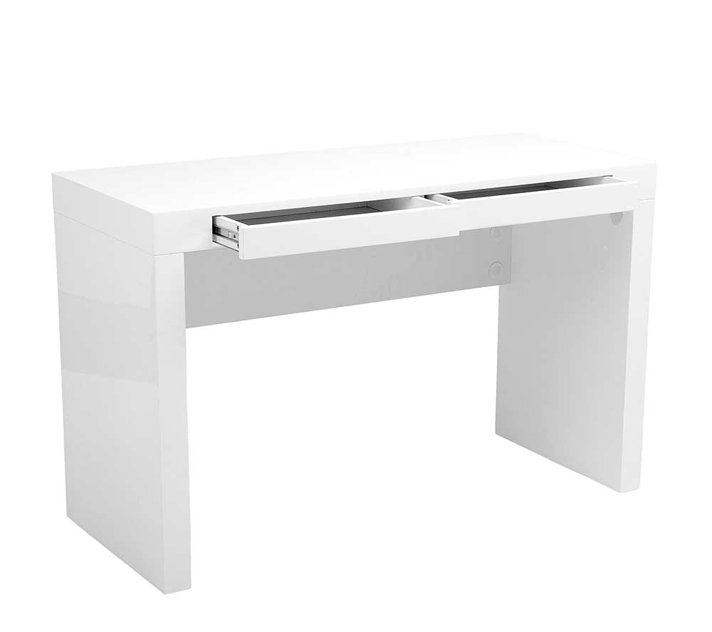 Modern High Gloss Lacquer Office Desk Estyle 25 In White