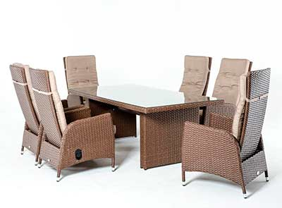Outdoor dining set Tan Rattan VG497