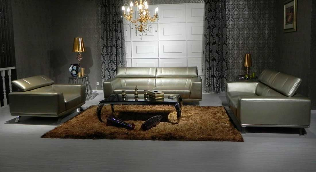 Modern Bronze Leather sofa set | Leather Sofas
