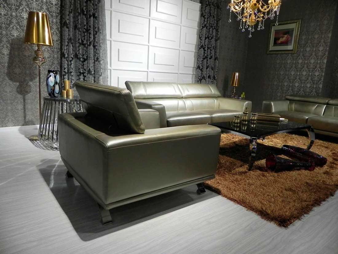 Modern bronze leather sofa set
