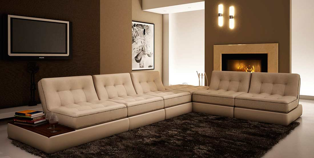 Beige Leather sectional sofa VG055 | Leather Sectionals
