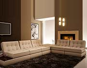 Beige Leather sectional sofa VG055