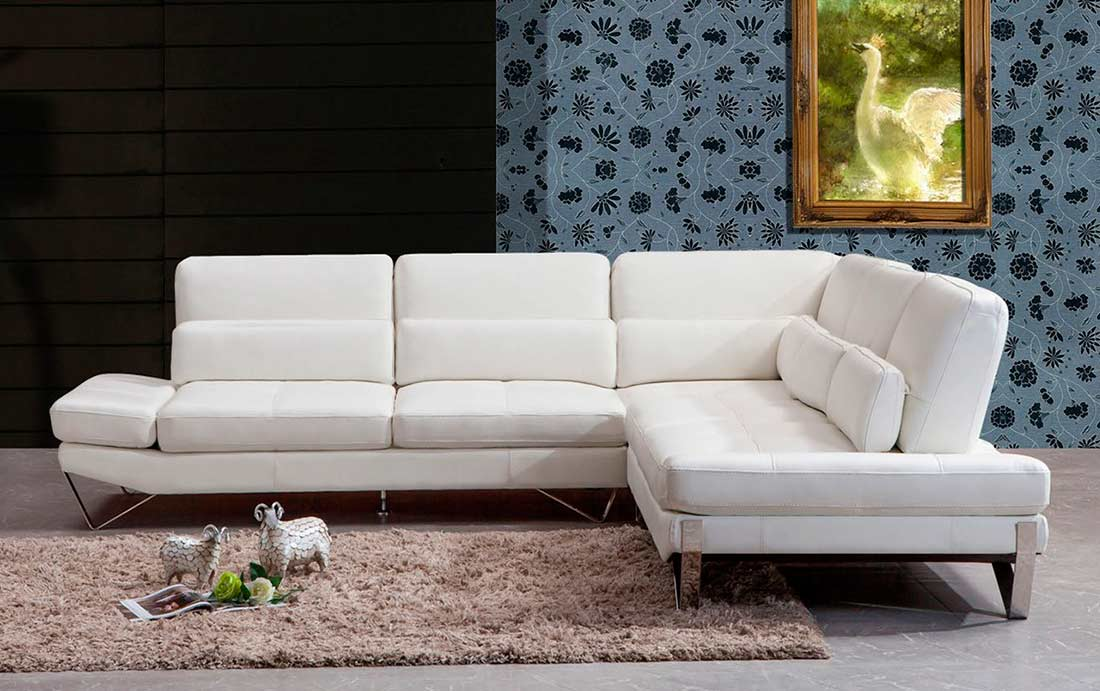 Modern White Leather Sectional Sofa Vg833