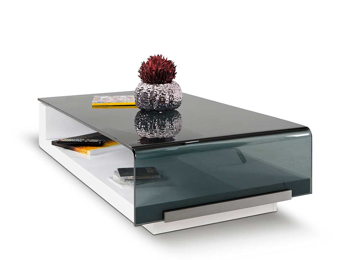 Modern grey glass top coffee table vg676 contemporary for Contemporary glass top coffee table
