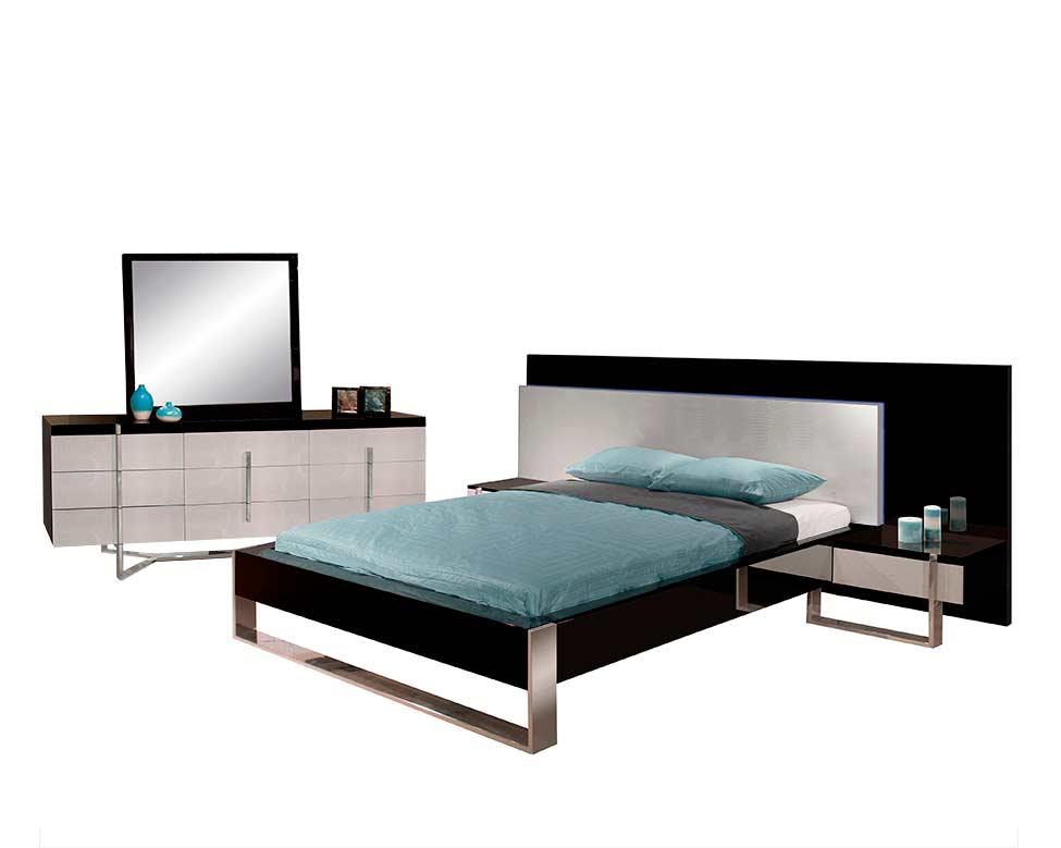 Two Tone Lacquer Bedroom Emilio Contemporary Bedroom