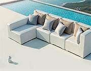 White Outdoor Small Sectional Sofa VG420