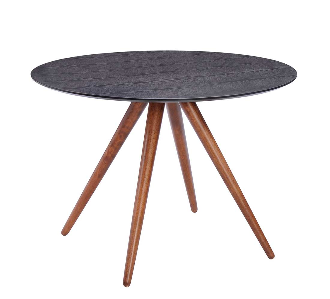 Black Dinner Table: Walnut And Black Dining Table Z094