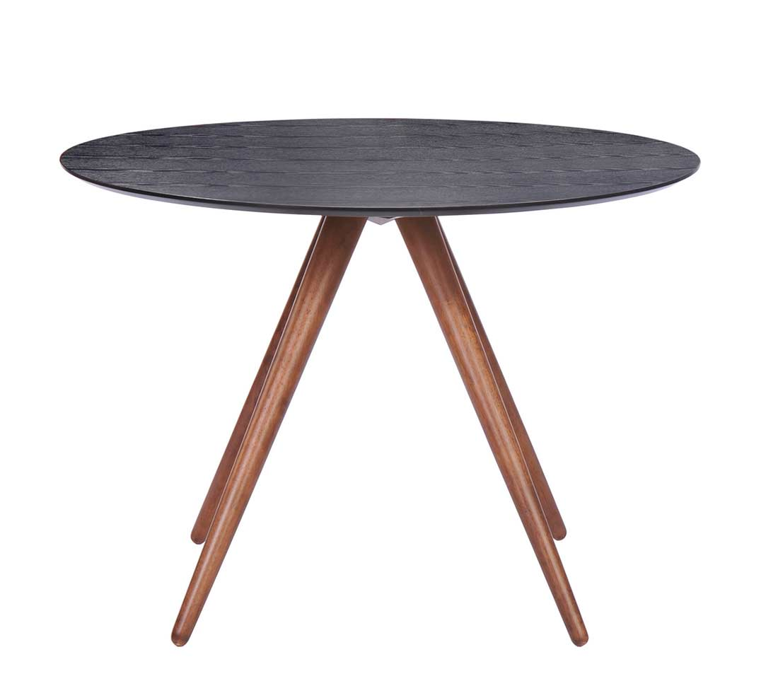 Walnut and black dining table z094 modern dining for Black round dining table