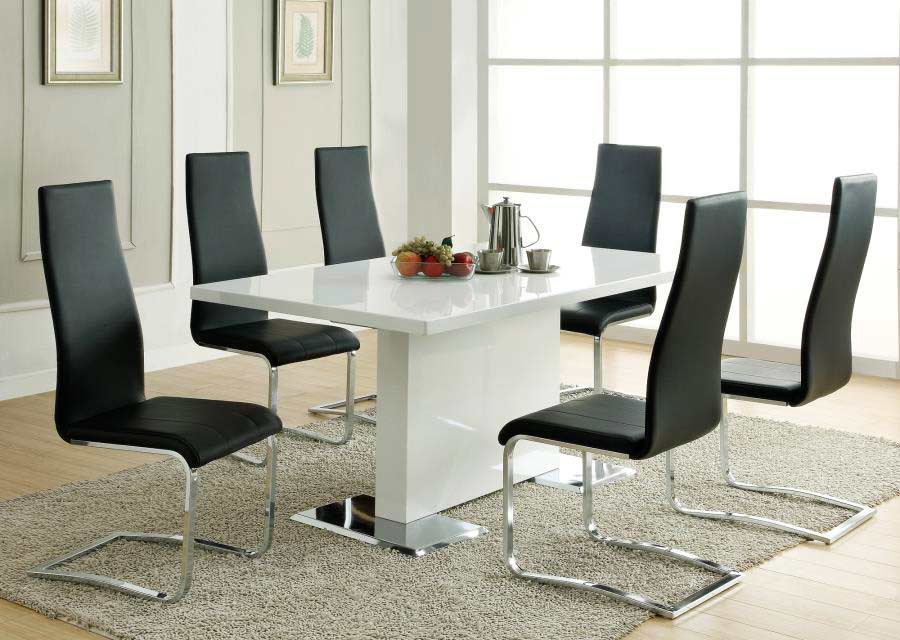 Modern dining table white co310 modern dining for Modern dining table and chairs