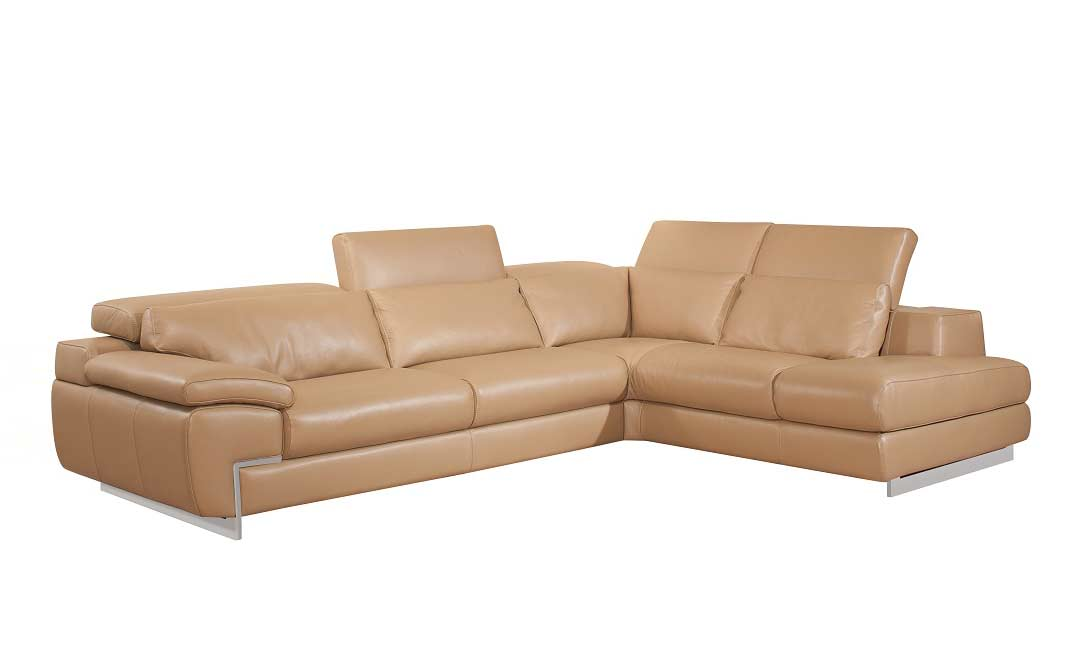 Top Grain Leather Mouton Sectional Sofa Zena Leather