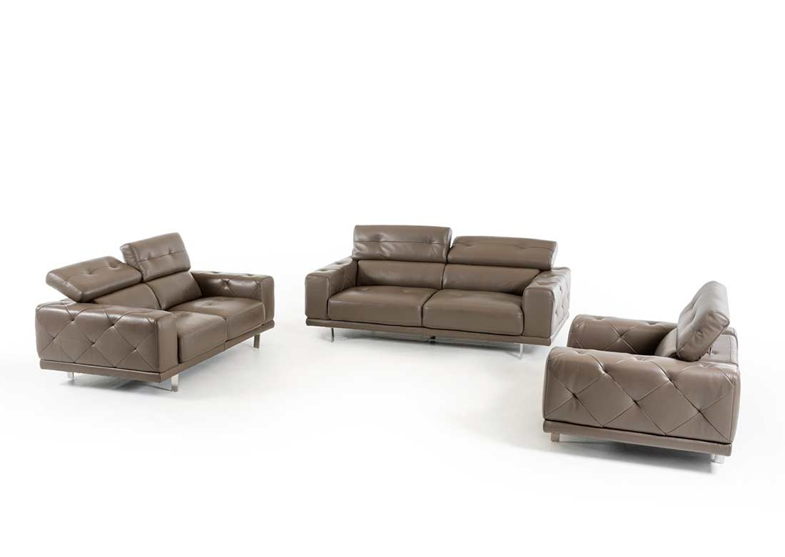 Dark Grey Leather Sofa Set VG116