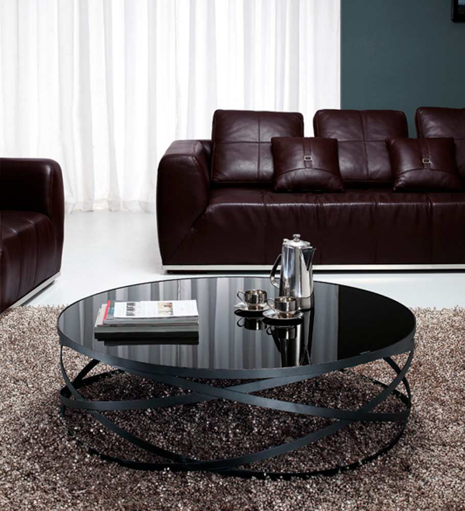 Round black glass coffee table - Black Glass Coffee Table Vg 139