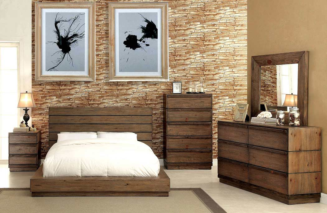 Low Profile Bed with Plank Panel Headboard FA23 | Urban