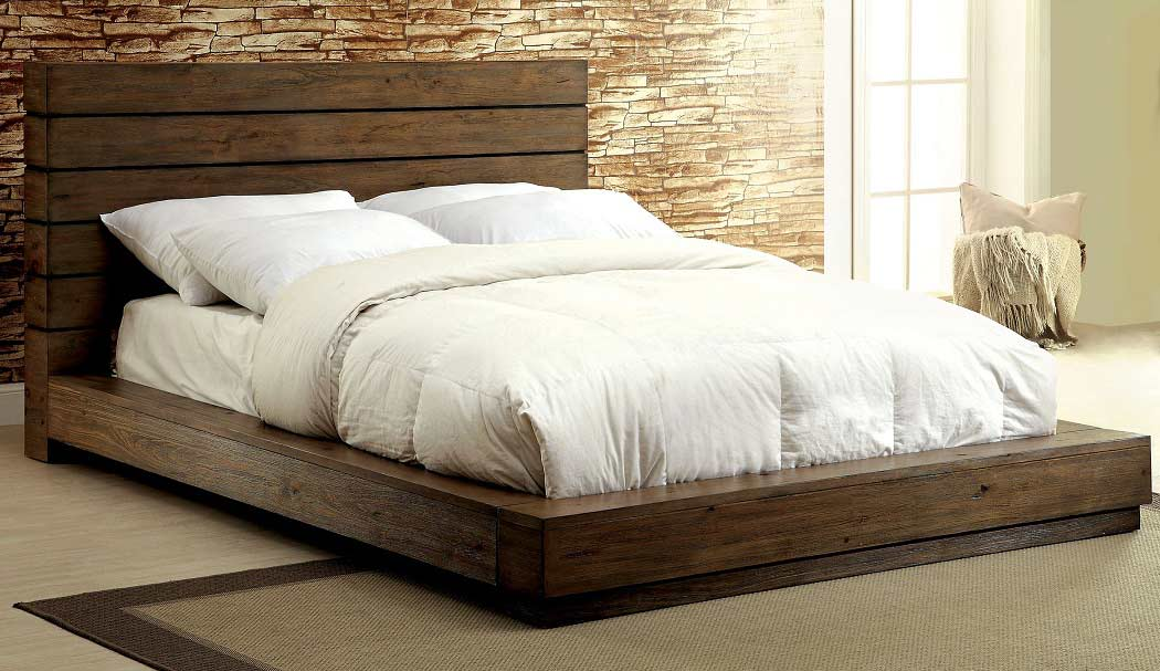 Low Profile Bed with Plank Panel Headboard FA23 ...