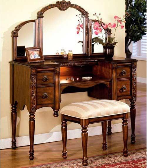 Oak vanity set ac 540 bedroom vanity sets for Bedroom furniture vanity sets