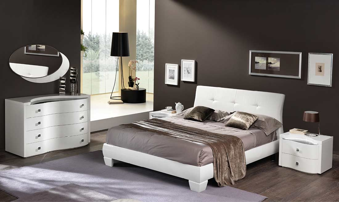 White Glossy Platform Bed EF Edda Modern Bedroom Furniture
