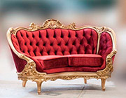 Red Velvet Provincial Sofa 634DO