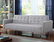 Sofa Bed in Light Grey Wooven Fabric CO616