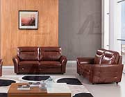 Brown Italian leather sofa set AE090