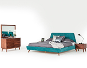 Teal and Walnut Bed VG Louiza