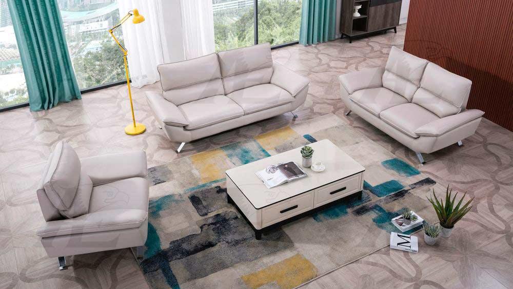Pleasing Light Gray Genuine Leather Sofa Set Ae 152 Leather Sofas Bralicious Painted Fabric Chair Ideas Braliciousco
