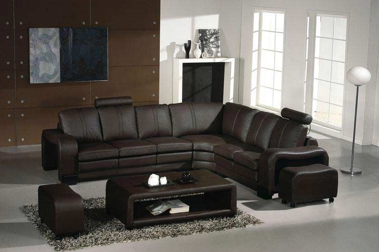 Merveilleux Sectional Leather Sofa Espresso 9