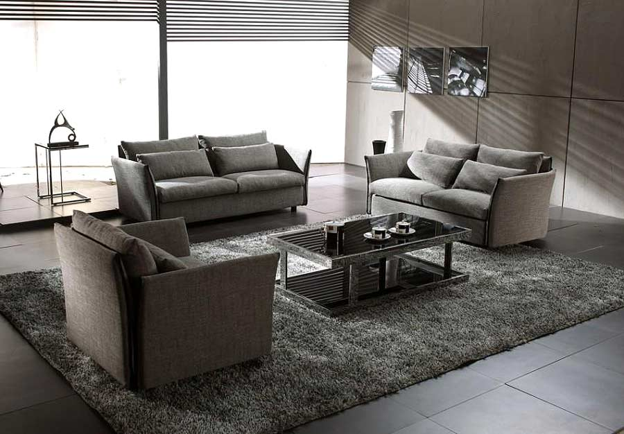 gt;gt; Fabric Sofas gt;gt; Grey Modern Contemporary Fabric Sofa Set V