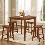 5pc Counter Height Dining Set in Walnut Finish
