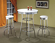 Retro Style White and Chrome Bar Table