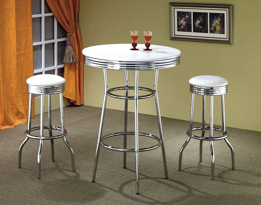 Good Retro Style White And Chrome Bar Table