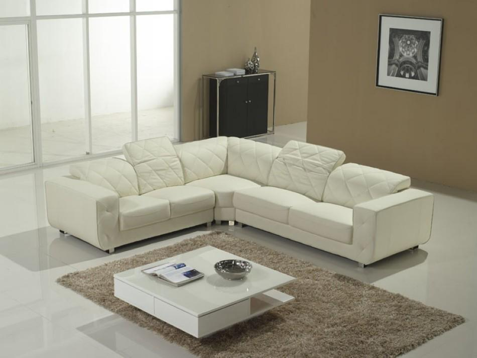 White Leather Sectional : ... Sofas & Sectionals >> Leather Sectionals >> White Section...